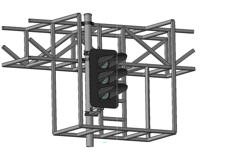 Светофор трехзначный светодиодный на мостиках и консолях 17664-00-00