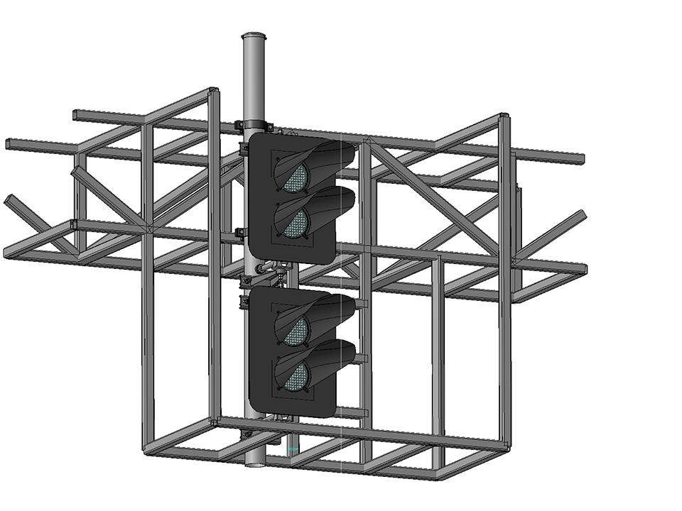 Светофоры четырехзначные светодиодные на мостиках и консолях