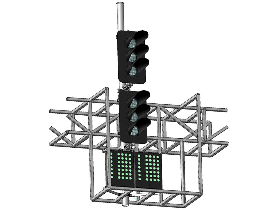 Светофор шестизначный светодиодный с двумя МУ на мостиках и консолях 17962-00-00