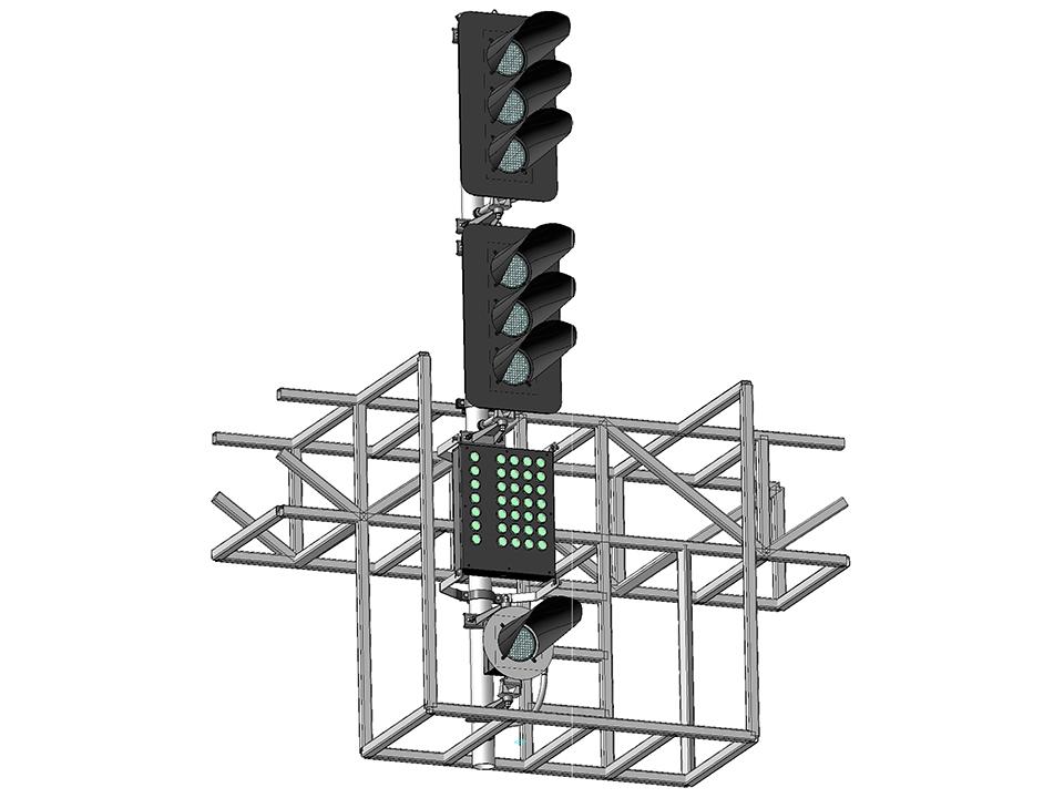 Светофор шестизначный светодиодный с МУ и ПС на мостиках и консолях 17963-00-00