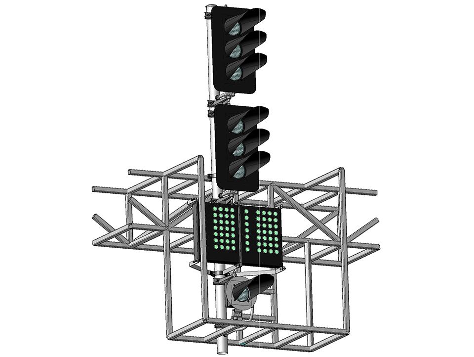 Светофор шестизначный светодиодный с двумя МУ и ПС на мостиках и консолях 17964-00-00