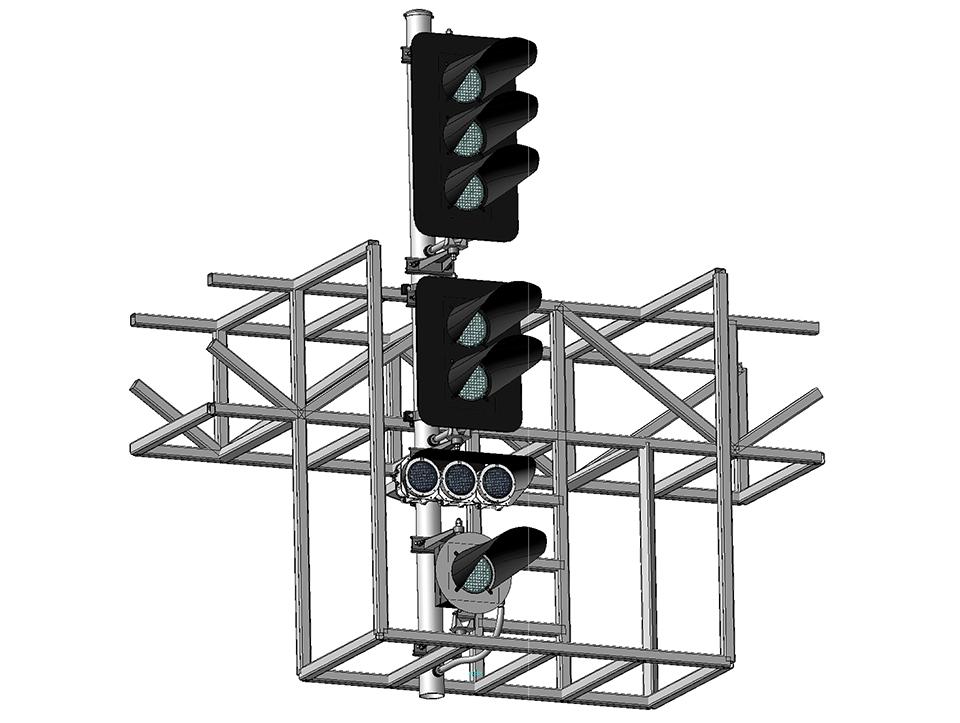 Светофор пятизначный светодиодный с УК и ПС на мостиках и консолях 17977-00-00