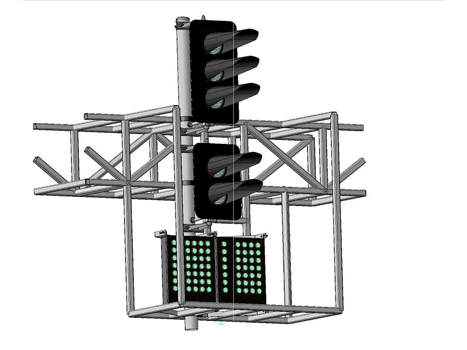 Светофор пятизначный светодиодный с двумя МК на мостиках и консолях 18039-00-00
