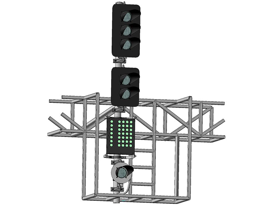Светофор пятизначный светодиодный с МК и ПС на мостиках и консолях 18040-00-00